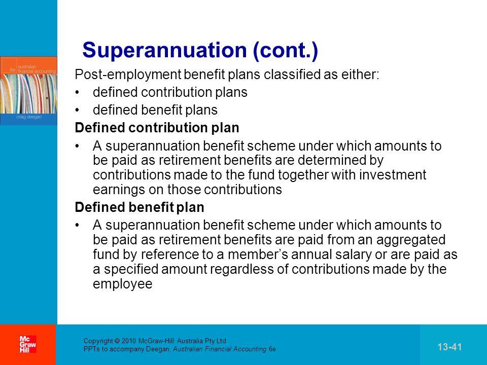 . Copyright 2010 McGraw-Hill Australia Pty Ltd PPTs to accompany Deegan, Australian Financial Accounting 6e 13-41 Superannuation (cont.) Post-employme