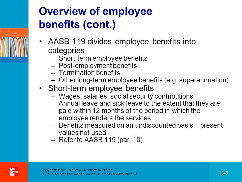 . Copyright 2010 McGraw-Hill Australia Pty Ltd PPTs to accompany Deegan, Australian Financial Accounting 6e 13-5 Overview of employee benefits (cont.)