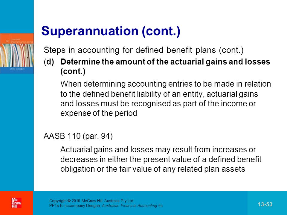 . Copyright 2010 McGraw-Hill Australia Pty Ltd PPTs to accompany Deegan, Australian Financial Accounting 6e 13-53 Superannuation (cont.) Steps in acco