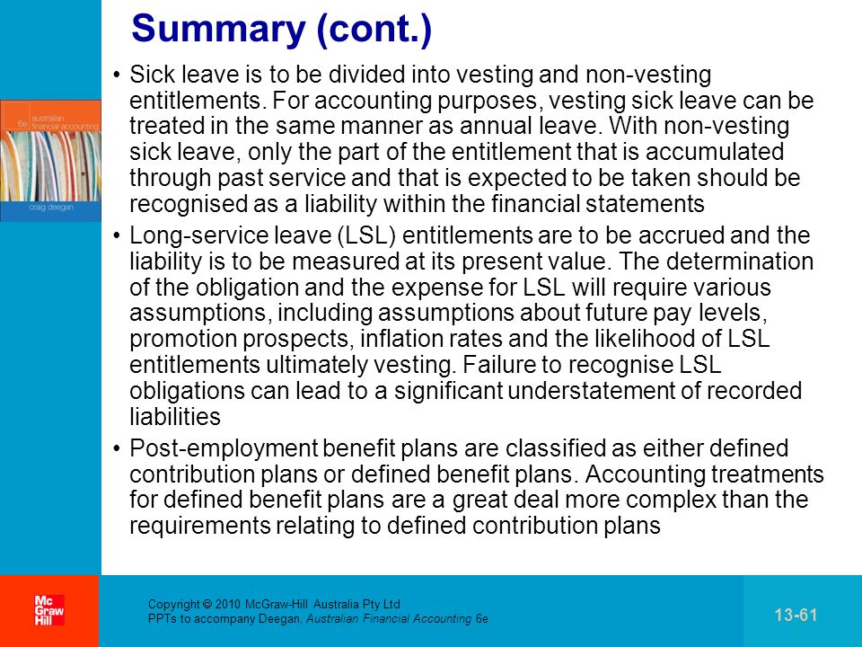 . Copyright 2010 McGraw-Hill Australia Pty Ltd PPTs to accompany Deegan, Australian Financial Accounting 6e 13-61 Summary (cont.) Sick leave is to be