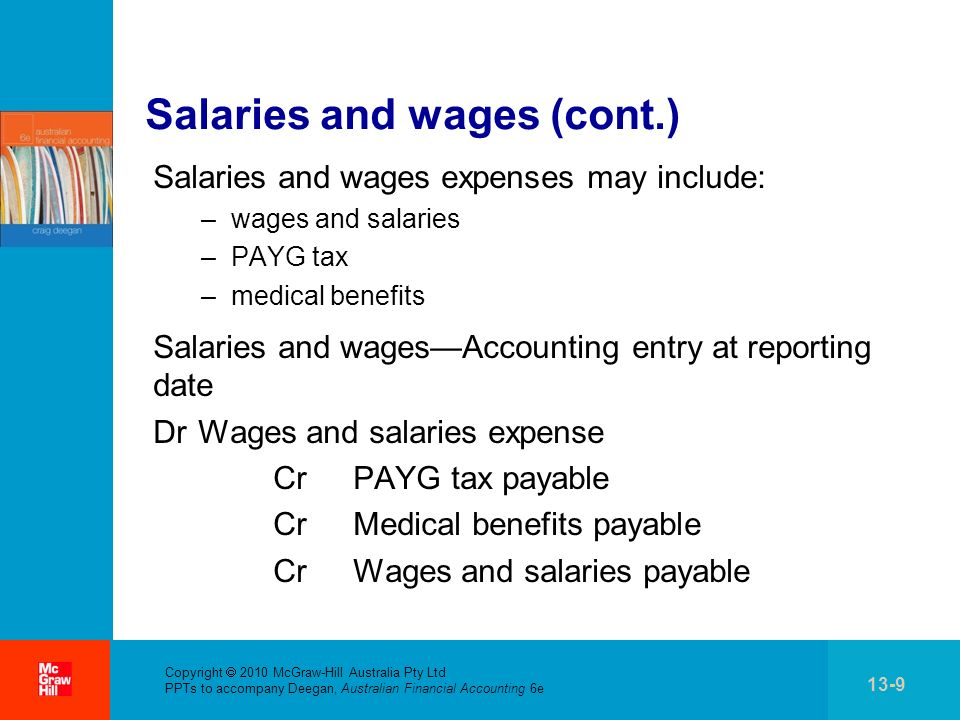 . Copyright 2010 McGraw-Hill Australia Pty Ltd PPTs to accompany Deegan, Australian Financial Accounting 6e 13-9 Salaries and wages (cont.) Salaries a
