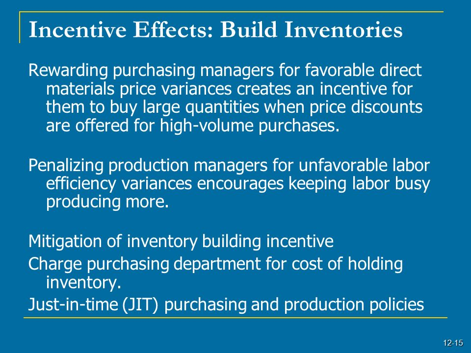 12-15 Incentive Effects: Build Inventories Rewarding purchasing managers for favorable direct materials price variances creates an incentive for them