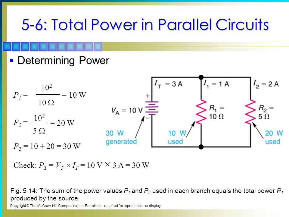 5-6: Total Power in Parallel Circuits Determining Power Check: P T = V T × I T = 10 V × 3 A = 30 W P T = 10 + 20 = 30 W P 1 = 10 2 10 = 10 W P 2 = = 2