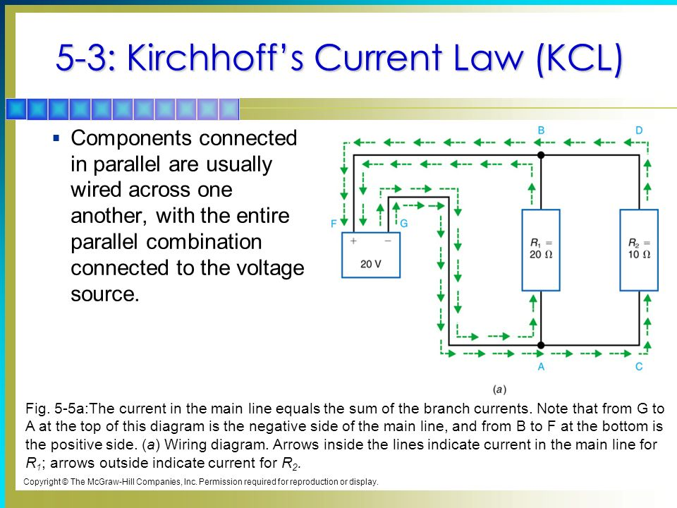 5-3: Kirchhoffs Current Law (KCL) Components connected in parallel are usually wired across one another, with the entire parallel combination connected to the voltage source.