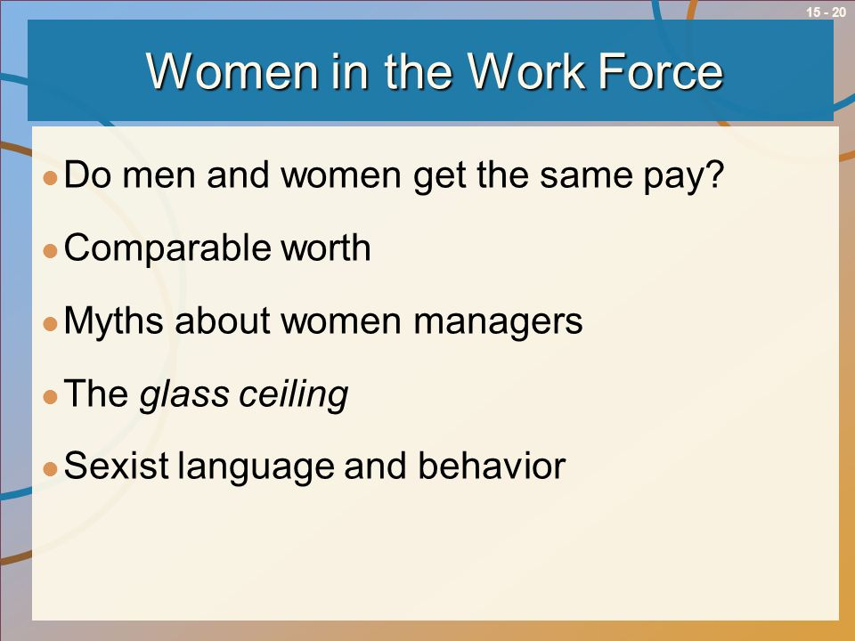 15 - 20 Women in the Work Force Do men and women get the same pay? Comparable worth Myths about women managers The glass ceiling Sexist language and b
