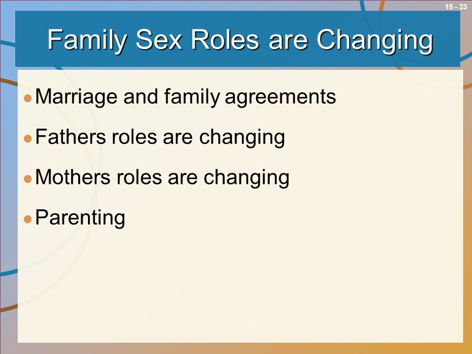 15 - 23 Family Sex Roles are Changing Marriage and family agreements Fathers roles are changing Mothers roles are changing Parenting