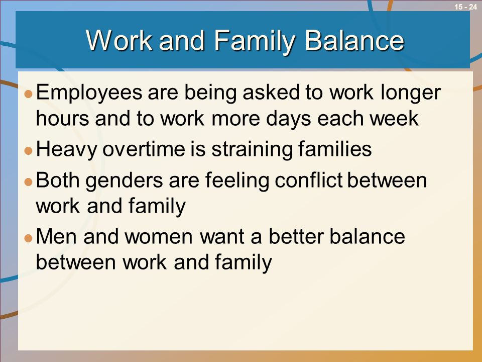 15 - 24 Work and Family Balance Employees are being asked to work longer hours and to work more days each week Heavy overtime is straining families Bo