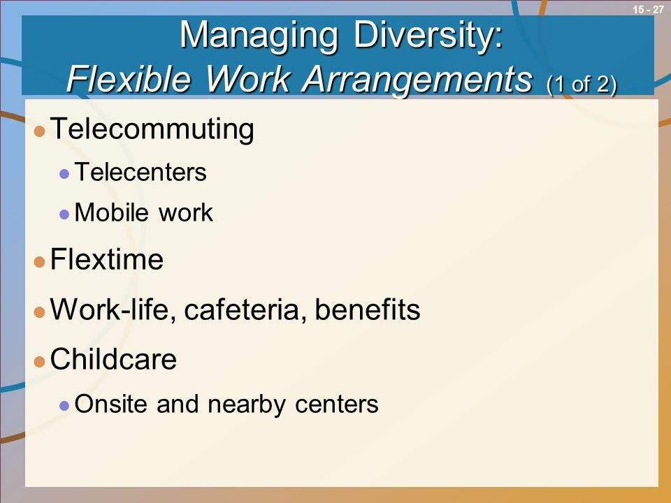15 - 27 Managing Diversity: Flexible Work Arrangements (1 of 2) Telecommuting Telecenters Mobile work Flextime Work-life, cafeteria, benefits Childcar