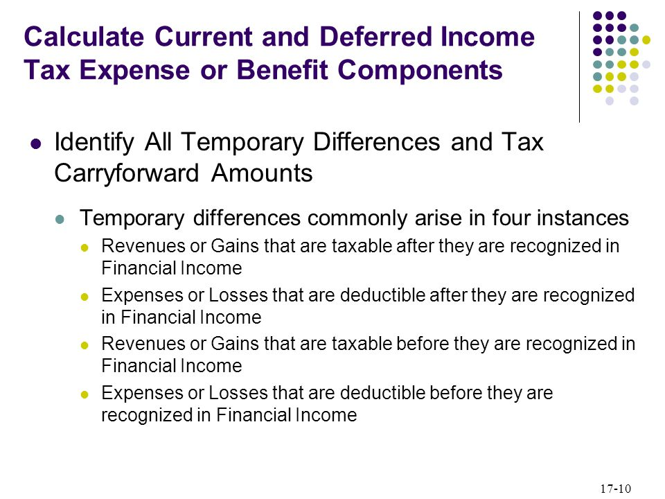 17-10 Identify All Temporary Differences and Tax Carryforward Amounts Temporary differences commonly arise in four instances Revenues or Gains that ar