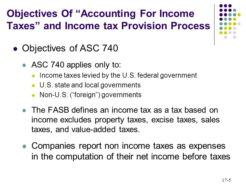 17-5 Objectives of ASC 740 ASC 740 applies only to: Income taxes levied by the U.S. federal government U.S. state and local governments Non-U.S. (fore