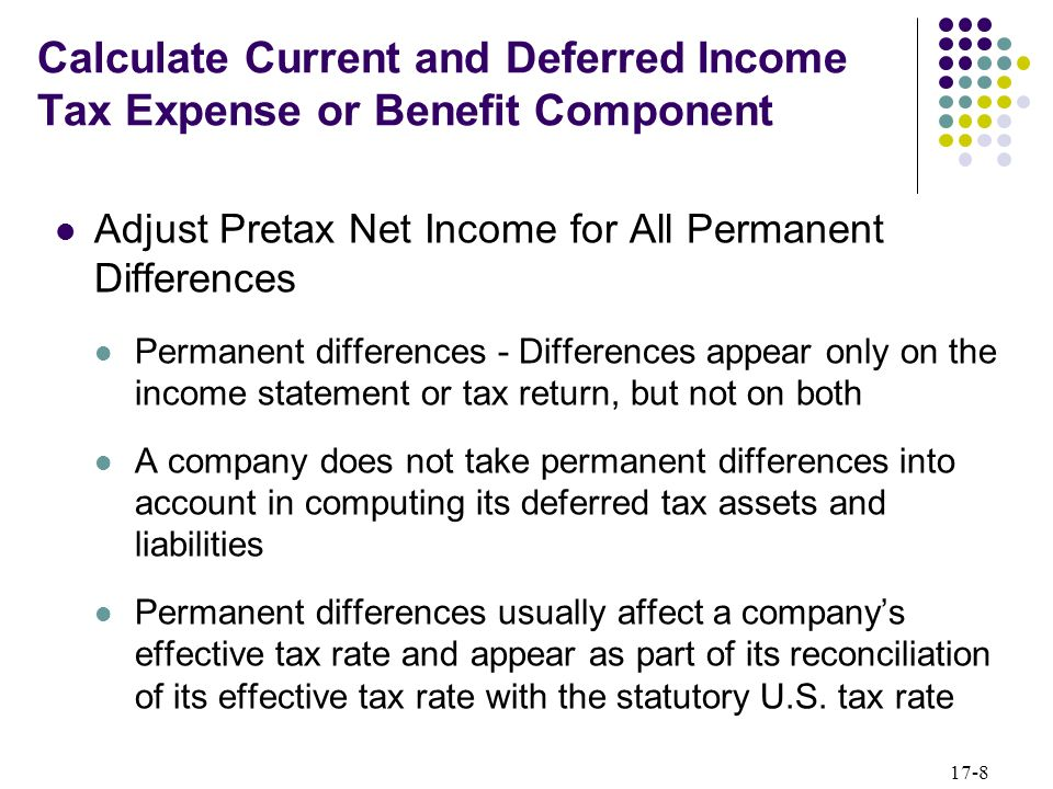 17-8 Calculate Current and Deferred Income Tax Expense or Benefit Component Adjust Pretax Net Income for All Permanent Differences Permanent differenc