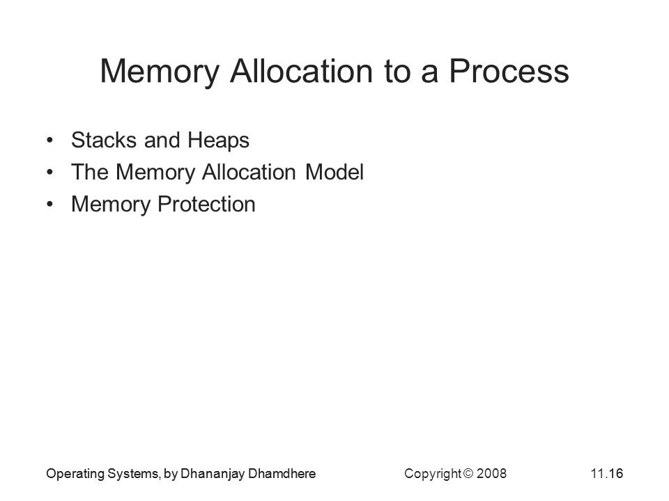Operating Systems, by Dhananjay Dhamdhere Copyright © 200811.16Operating Systems, by Dhananjay Dhamdhere16 Memory Allocation to a Process Stacks and H