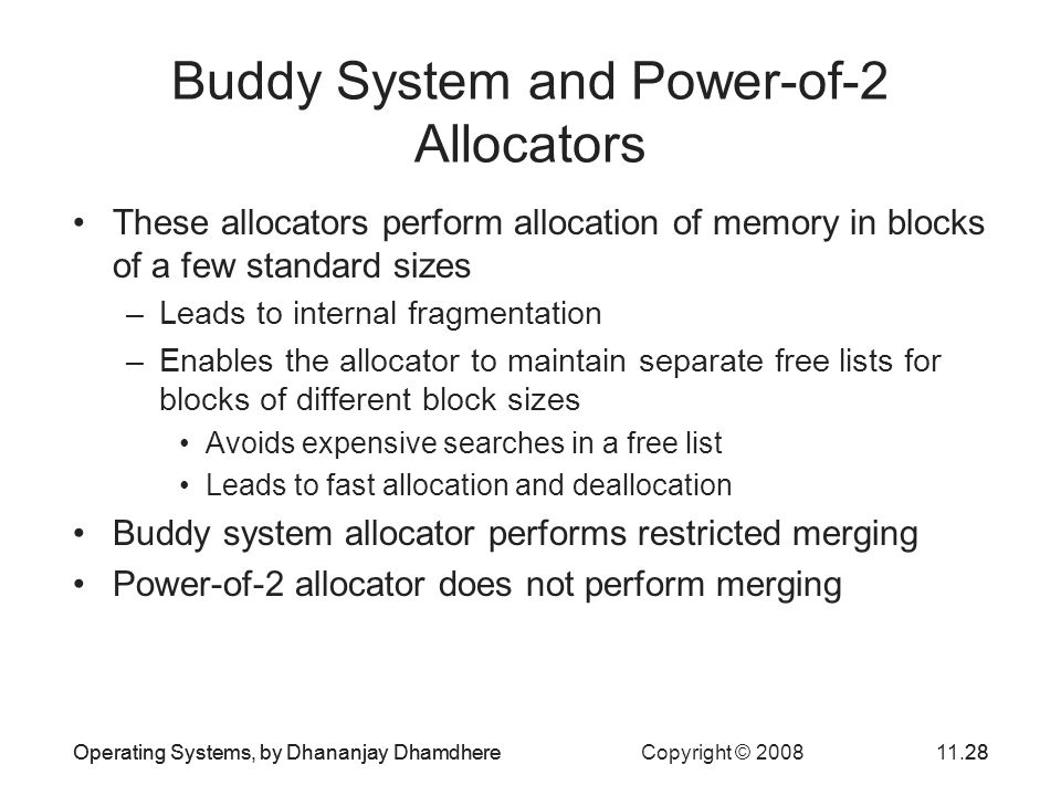 Operating Systems, by Dhananjay Dhamdhere Copyright © 200811.28Operating Systems, by Dhananjay Dhamdhere28 Buddy System and Power-of-2 Allocators Thes