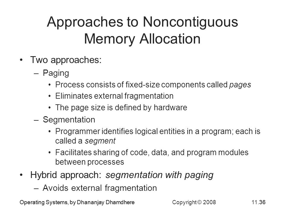 Operating Systems, by Dhananjay Dhamdhere Copyright © 200811.36Operating Systems, by Dhananjay Dhamdhere36 Approaches to Noncontiguous Memory Allocati