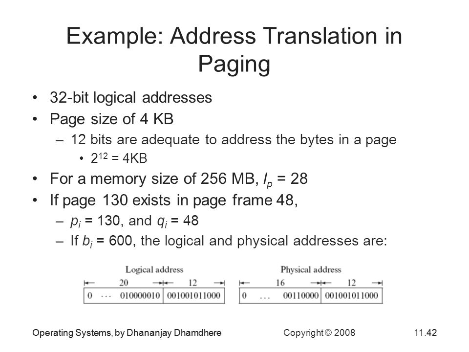 Operating Systems, by Dhananjay Dhamdhere Copyright © 200811.42Operating Systems, by Dhananjay Dhamdhere42 Example: Address Translation in Paging 32-b