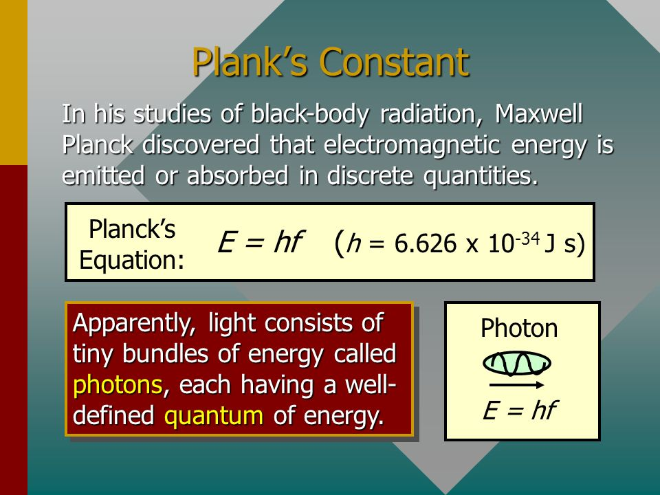 Planks Constant In his studies of black-body radiation, Maxwell Planck discovered that electromagnetic energy is emitted or absorbed in discrete quantities.