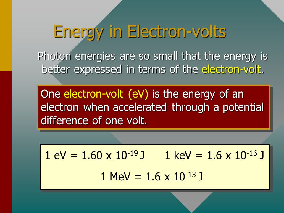 Energy in Electron-volts Photon energies are so small that the energy is better expressed in terms of the electron-volt.