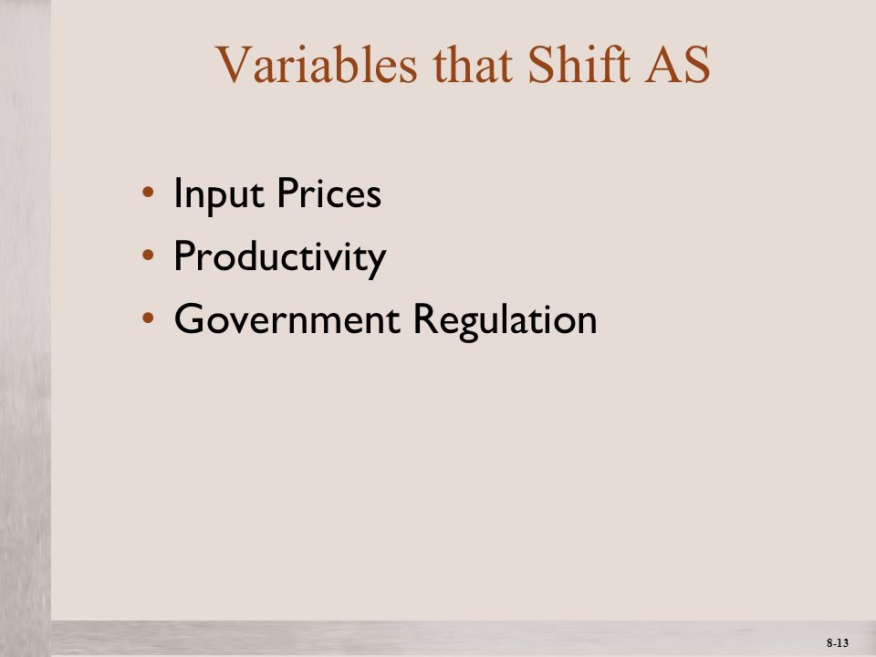 1- 13 ©2012 The McGraw-Hill Companies, All Rights ReservedMcGraw-Hill/Irwin 8-13 Variables that Shift AS Input Prices Productivity Government Regulati