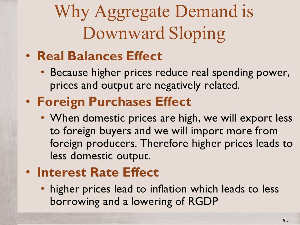 1- 5 ©2012 The McGraw-Hill Companies, All Rights ReservedMcGraw-Hill/Irwin 8-5 Why Aggregate Demand is Downward Sloping Real Balances Effect Because higher prices reduce real spending power, prices and output are negatively related.