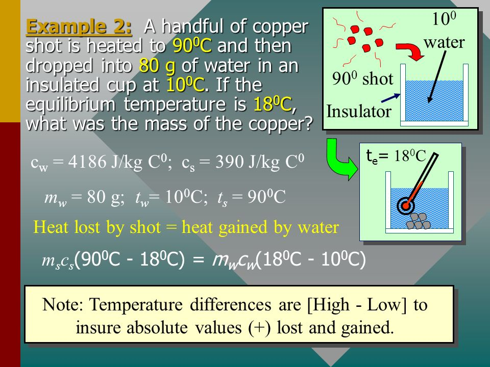 Conservation of Energy Whenever there is a transfer of heat within a system, the heat lost by the warmer bodies must equal the heat gained by the cool