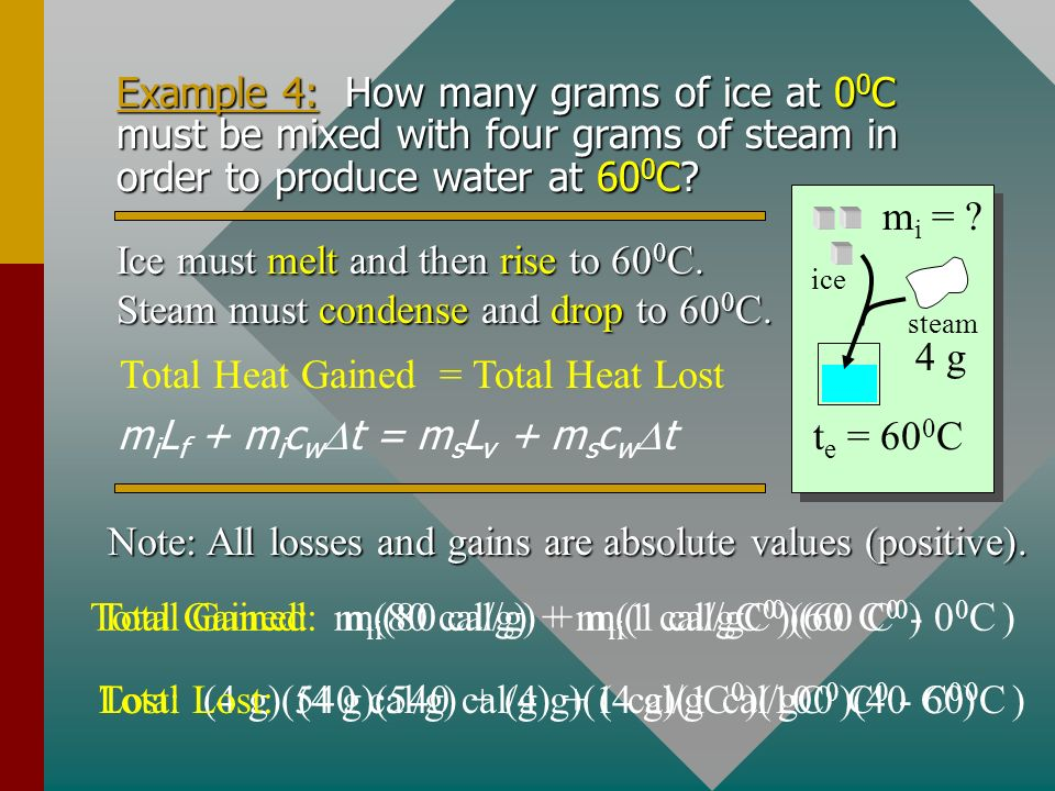 Example 3 (Cont.): Step four is Q 4 to convert 10 g of water to steam at 100 0 C? (Q 4 = mL v ) Q -20 0 C 00C00C 100 0 C vaporization Q 4 to convert a