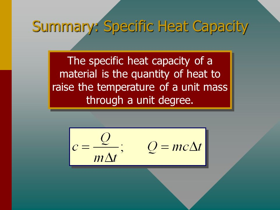 Summary: Change of Phase The latent heat of fusion (L f ) of a substance is the heat per unit mass required to change the substance from the solid to