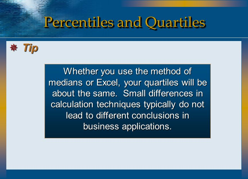 Whether you use the method of medians or Excel, your quartiles will be about the same. Small differences in calculation techniques typically do not le