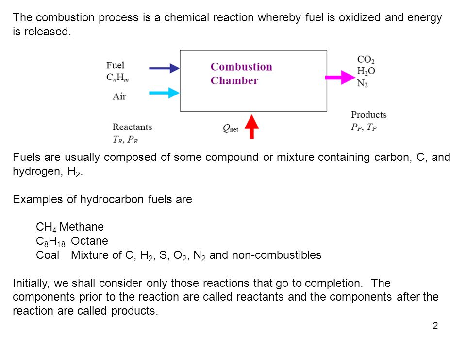 2 The combustion process is a chemical reaction whereby fuel is oxidized and energy is released. Fuels are usually composed of some compound or mixtur