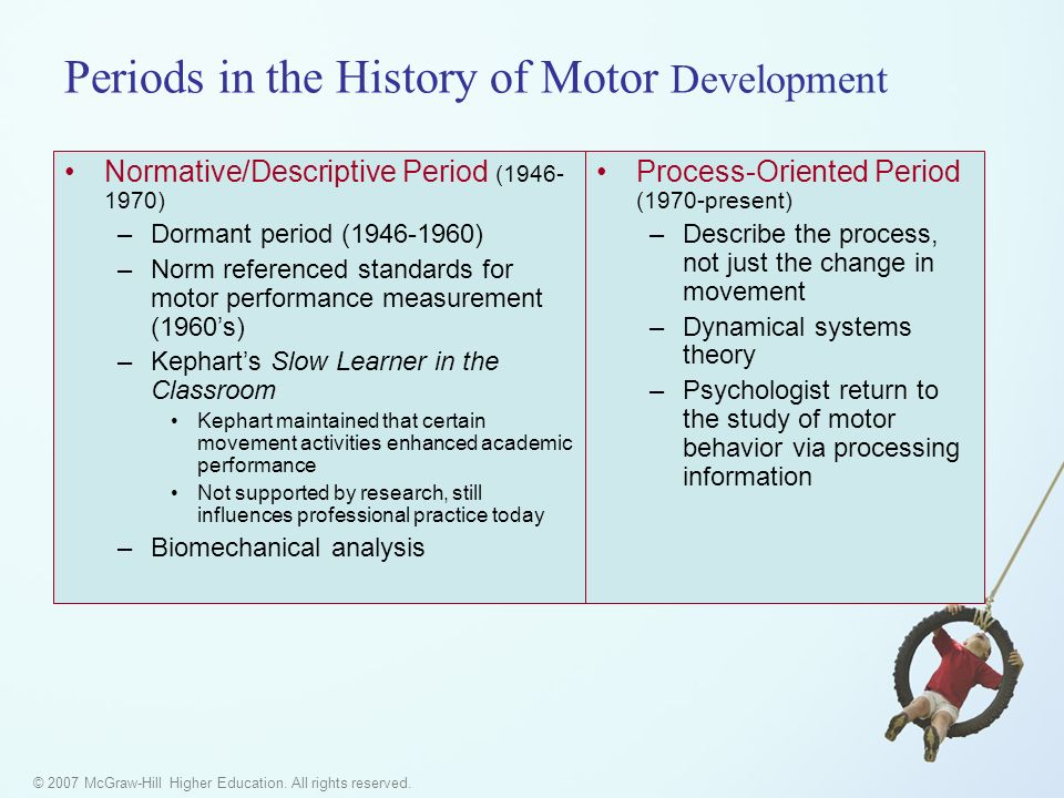 © 2007 McGraw-Hill Higher Education. All rights reserved. Periods in the History of Motor Development Normative/Descriptive Period (1946- 1970) –Dorma