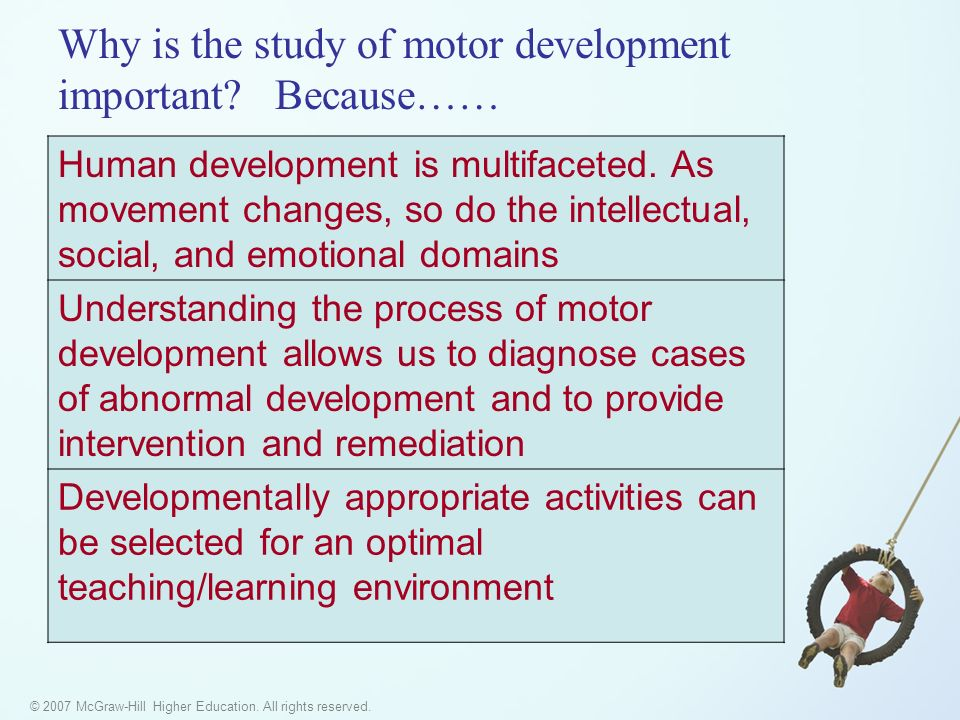 © 2007 McGraw-Hill Higher Education. All rights reserved. Why is the study of motor development important? Because…… Human development is multifaceted
