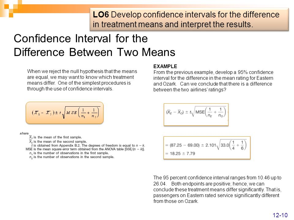 Confidence Interval for the Difference Between Two Means When we reject the null hypothesis that the means are equal, we may want to know which treatm