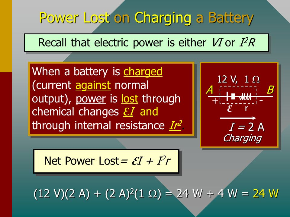 Power Gain for Discharging EMF When a battery is discharging, there is a GAIN in power E I as chemical energy is converted to electrical energy. At th