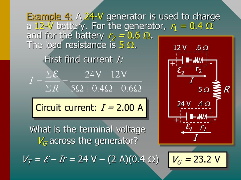 Power Lost on Charging a Battery When a battery is charged (current against normal output), power is lost through chemical changes E I and through int
