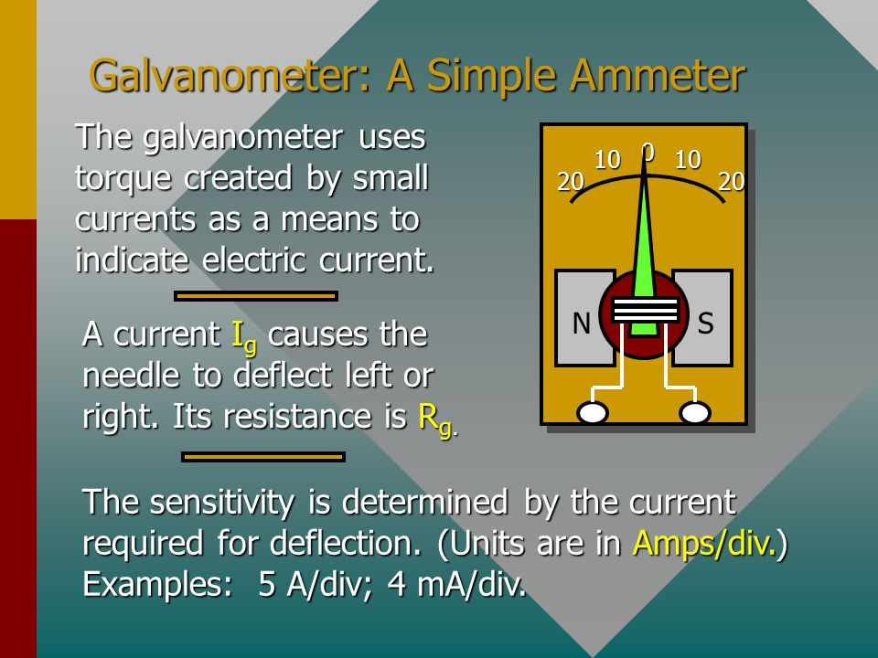 The Ammeter An ammeter is an instrument used to measure currents. It is always connected in series and its resistance must be small (negligible change