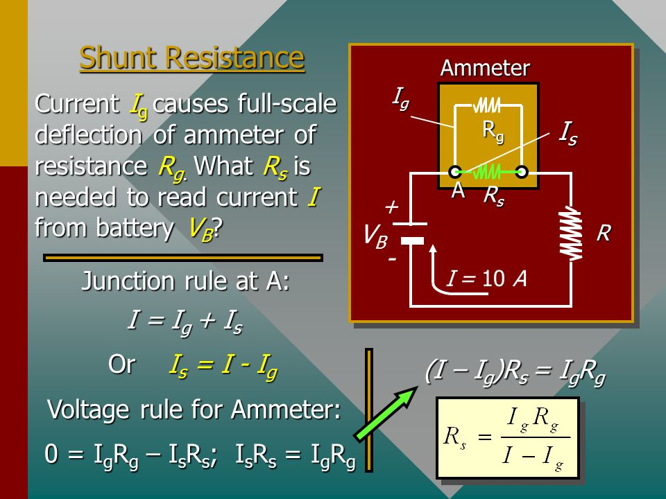 Operation of an Ammeter The galvanometer is often the working element of both ammeters and voltmeters. A shunt resistance in parallel with the galvano