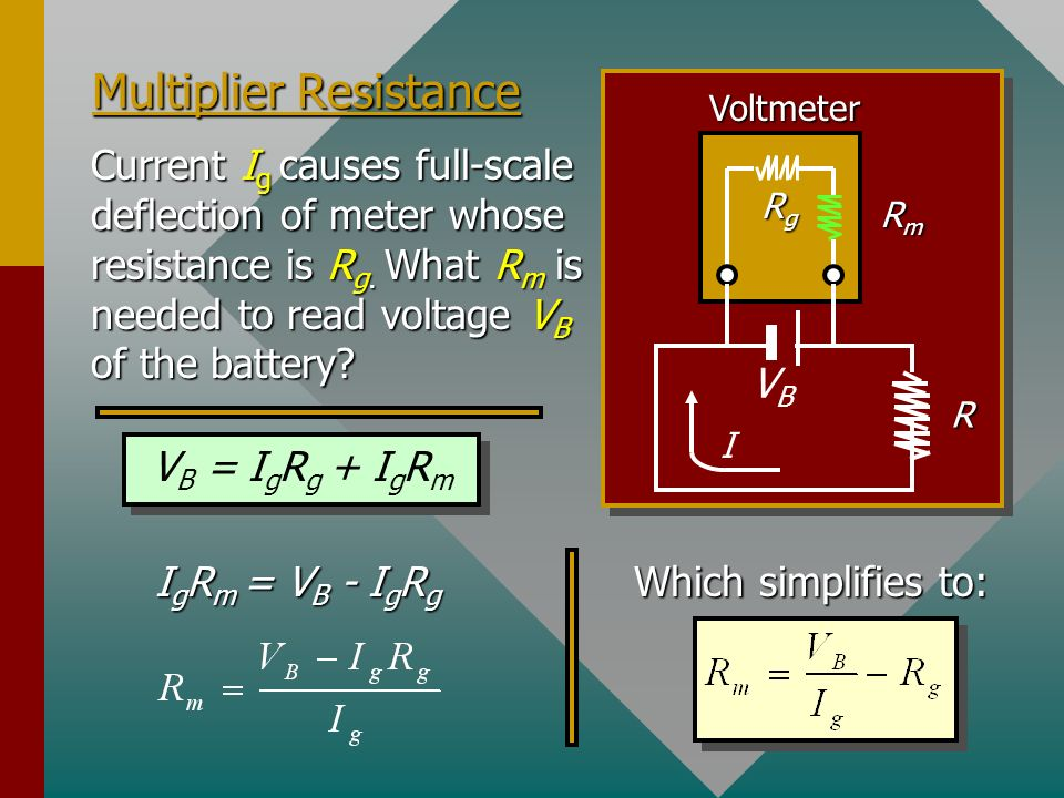 Operation of an Voltmeter The voltmeter must be connected in parallel and must have high resistance so as not to disturb the main circuit. A multiplie