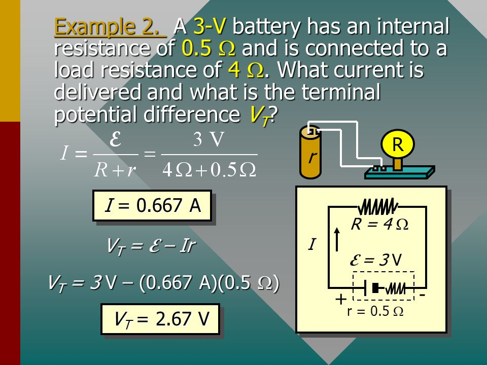 Example 4: A 24-V generator is used to charge a 12-V battery.