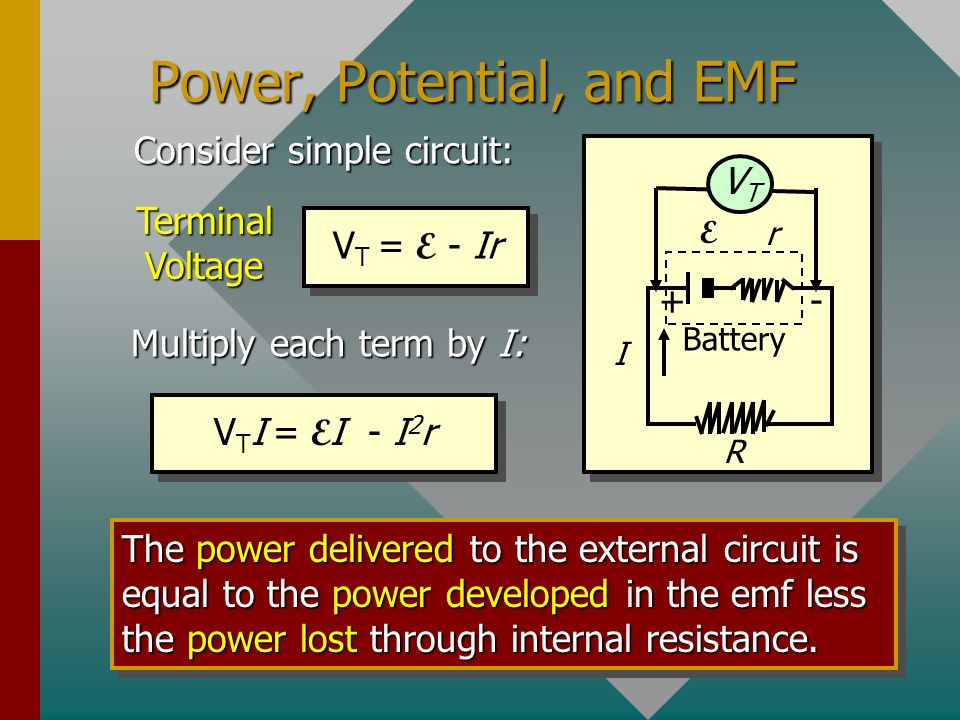 Power, Potential, and EMF I + Battery r E - VTVT R Consider simple circuit: V T = E - Ir Terminal Voltage Multiply each term by I: V T I = E I - I 2 r The power delivered to the external circuit is equal to the power developed in the emf less the power lost through internal resistance.