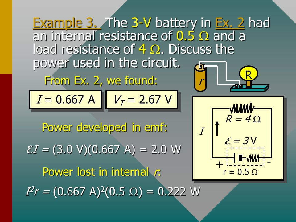 Example 3.The 3-V battery in Ex. 2 had an internal resistance of 0.5 and a load resistance of 4.