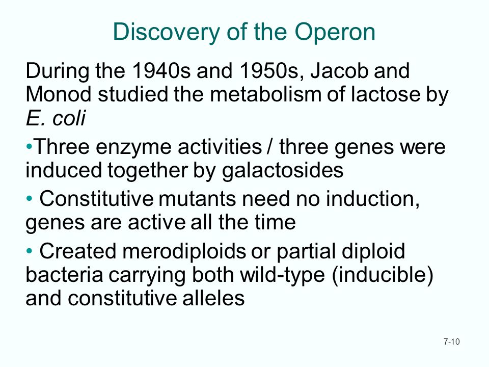 7-10 Discovery of the Operon During the 1940s and 1950s, Jacob and Monod studied the metabolism of lactose by E. coli Three enzyme activities / three