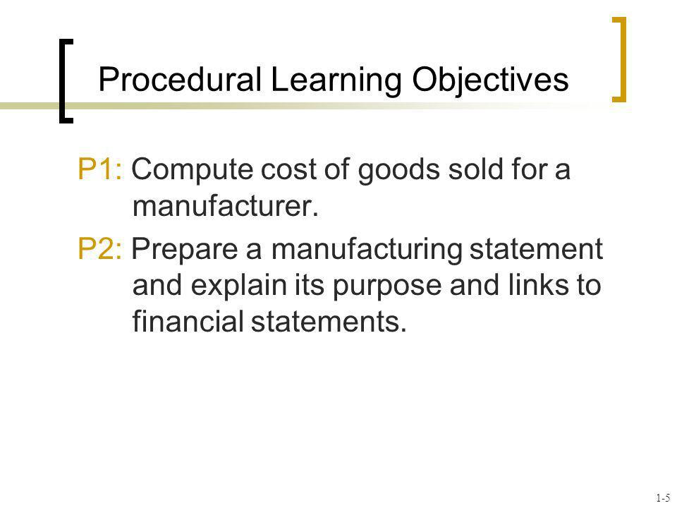 Beginning Merchandise Inventory Beginning Finished Goods Inventory Cost of Goods Purchased Cost of Goods Manufactured Ending Merchandise Inventory Ending Finished Goods Inventory Cost of Goods Sold Merchandiser Manufacturer + _ + == _ The major difference Income Statement of a Manufacturer C4 1-16