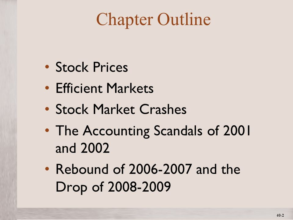 1- 2 ©2012 The McGraw-Hill Companies, All Rights ReservedMcGraw-Hill/Irwin 40-2 Chapter Outline Stock Prices Efficient Markets Stock Market Crashes The Accounting Scandals of 2001 and 2002 Rebound of 2006-2007 and the Drop of 2008-2009