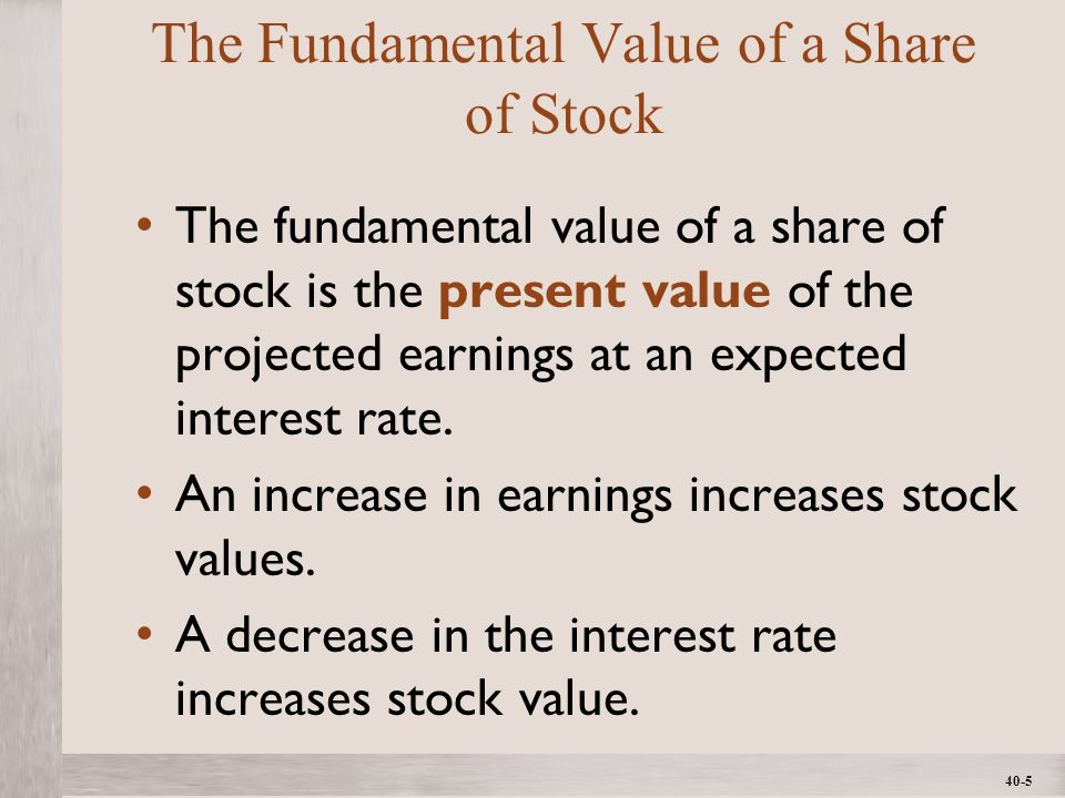 1- 5 ©2012 The McGraw-Hill Companies, All Rights ReservedMcGraw-Hill/Irwin 40-5 The Fundamental Value of a Share of Stock The fundamental value of a share of stock is the present value of the projected earnings at an expected interest rate.