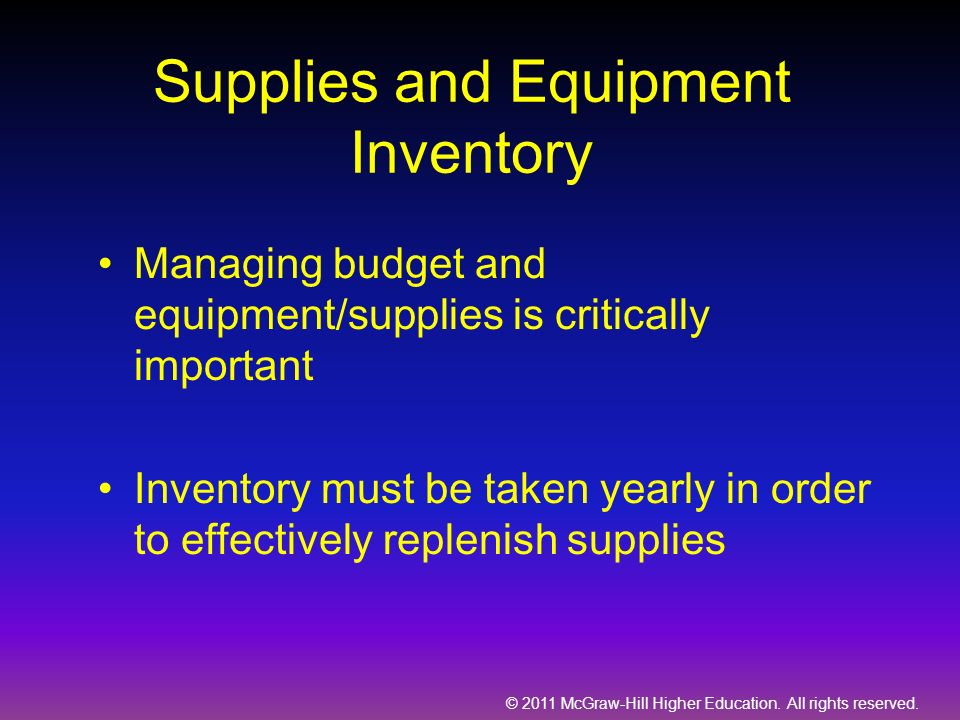 © 2011 McGraw-Hill Higher Education. All rights reserved. Supplies and Equipment Inventory Managing budget and equipment/supplies is critically import