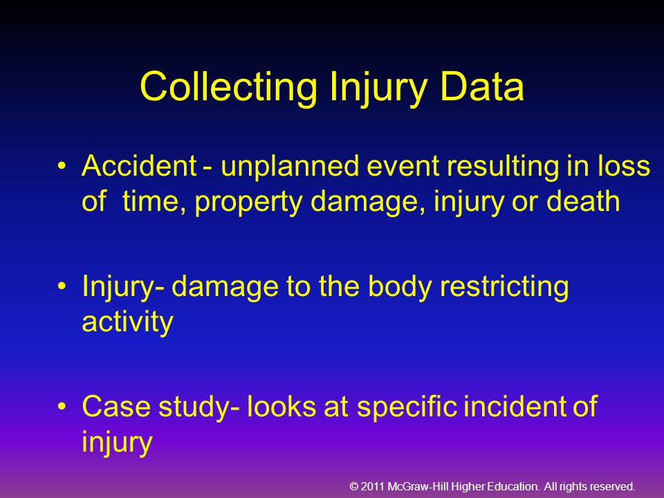 © 2011 McGraw-Hill Higher Education. All rights reserved. Collecting Injury Data Accident - unplanned event resulting in loss of time, property damage
