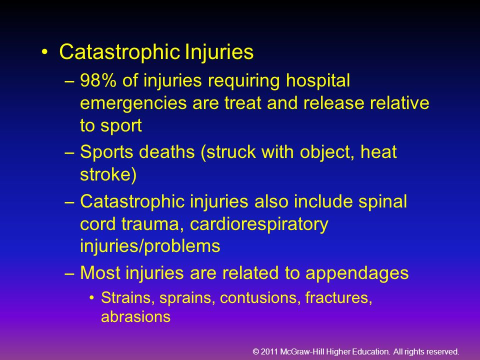 © 2011 McGraw-Hill Higher Education. All rights reserved. Catastrophic Injuries –98% of injuries requiring hospital emergencies are treat and release