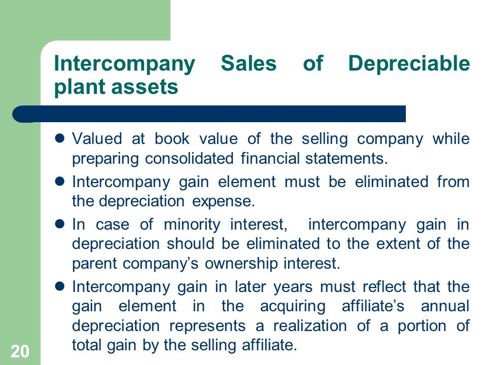 19 Intercompany Sales of Land Valued at historical cost.