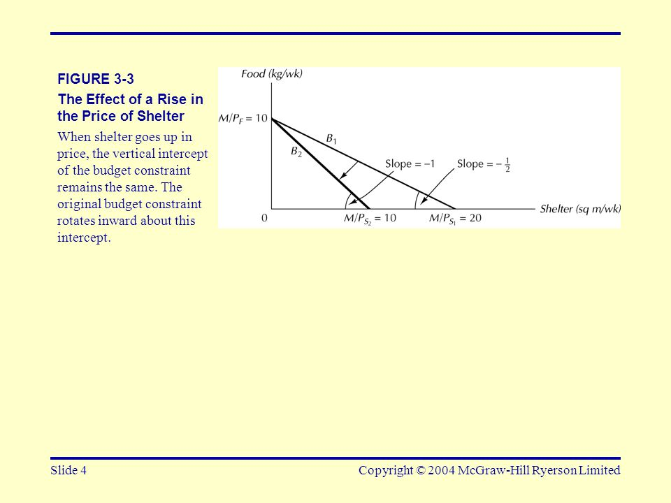 Slide 5Copyright © 2004 McGraw-Hill Ryerson Limited FIGURE 3-4 The Effect of Cutting Income by Half Both horizontal and vertical intercepts fall by half.