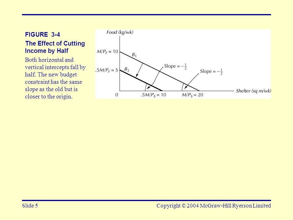 Slide 5Copyright © 2004 McGraw-Hill Ryerson Limited FIGURE 3-4 The Effect of Cutting Income by Half Both horizontal and vertical intercepts fall by ha