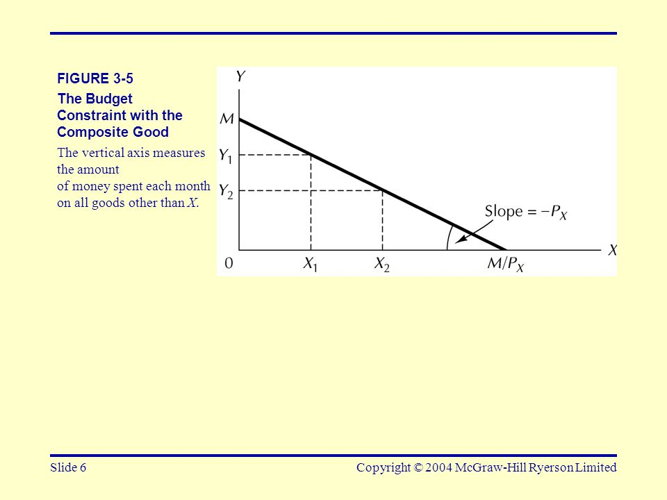 Slide 6Copyright © 2004 McGraw-Hill Ryerson Limited FIGURE 3-5 The Budget Constraint with the Composite Good The vertical axis measures the amount of